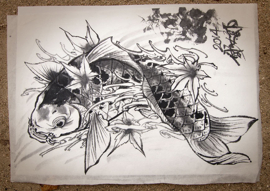 Horitaro original ink drawing